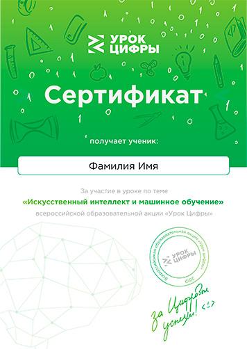 Сертификат участника 2019 года