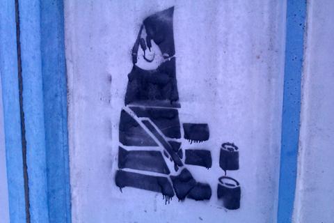 Граффити в Солигорске на тему вырубки деревьев