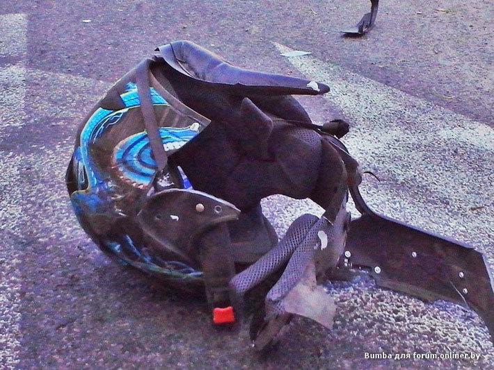 В Бресте От удара об ограждение у 22-летнего байкера раскололся шлем