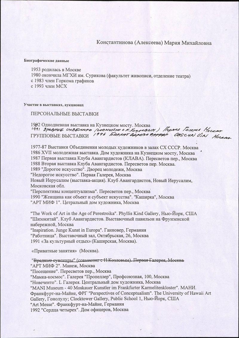 Биографические сведения Марии Константиновой