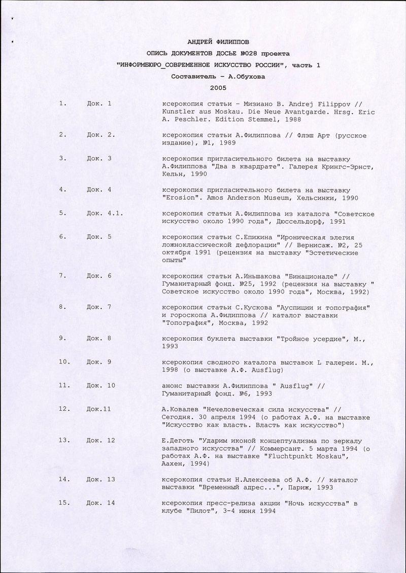 Опись документов досье Андрея Филиппова