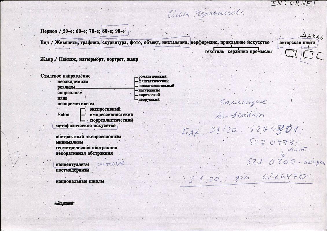 Фрагмент анкеты Ольги Чернышевой для Центра современного искусства Сороса