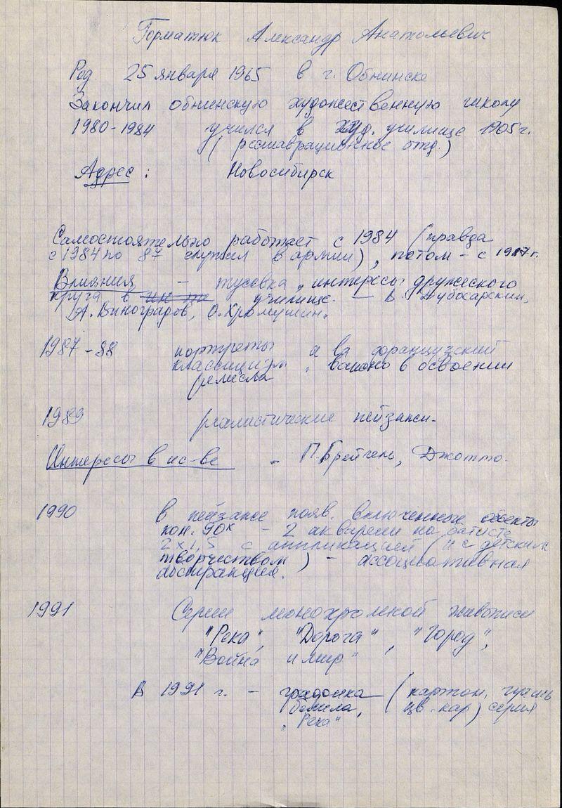 Биографические сведения Александра Горматюка