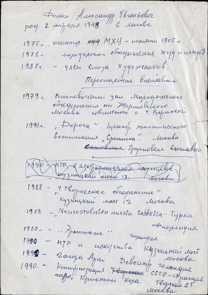 Биографические сведения Александра Фонина