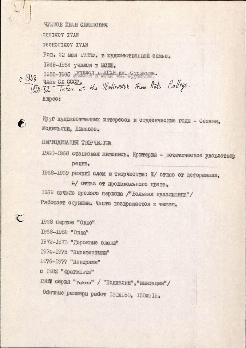 Биографические сведения Ивана Чуйкова