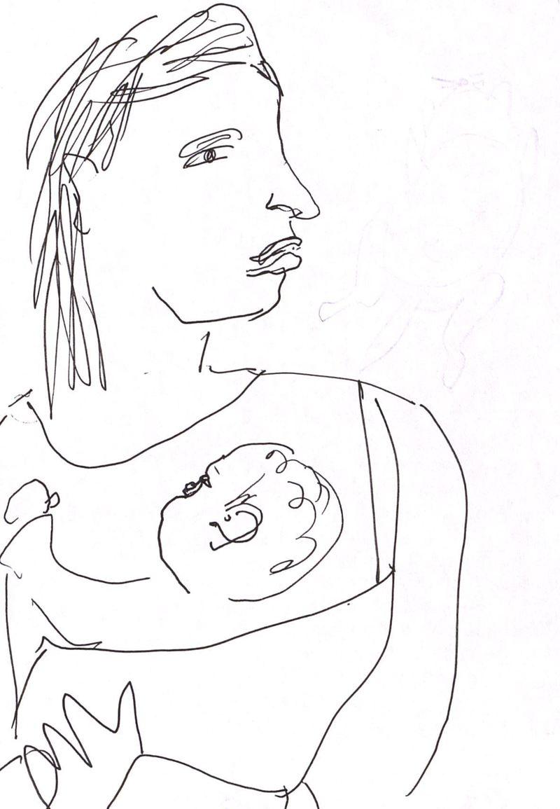 Рисунок из цикла «Мамы с детьми»