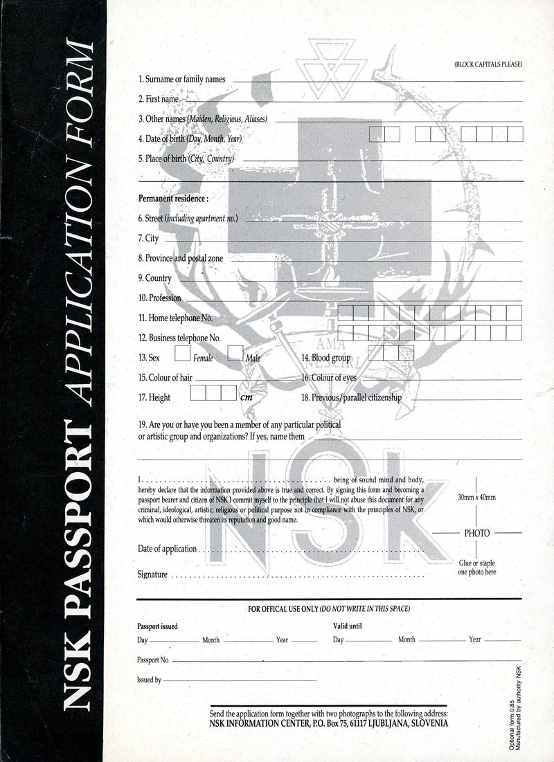 NSK PASSPORT APPLICATION FORM