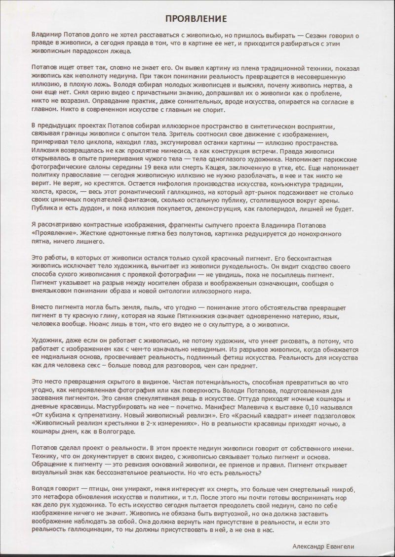 Текст Александра Евангели о выставке Владимира Потапова «Проявление»