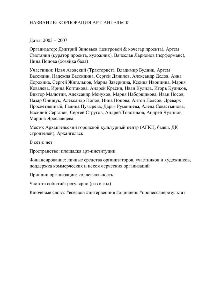 Информация об Арт-Ангельск
