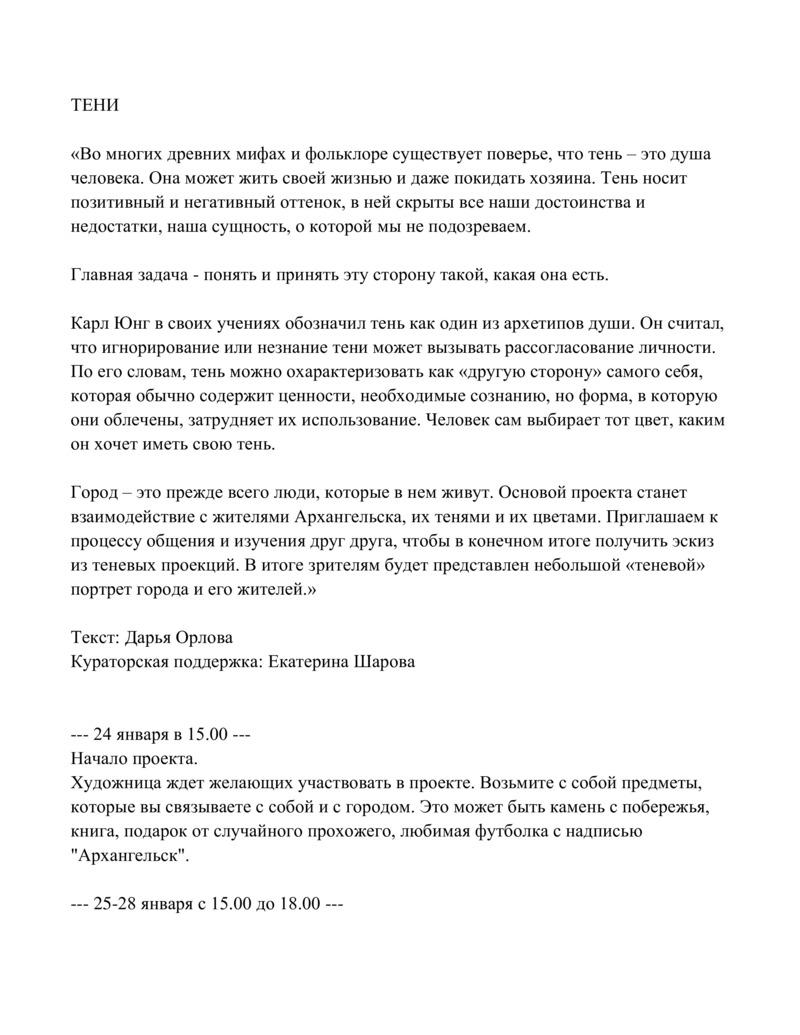 Описание проекта «Тени» Дарьи Орловой
