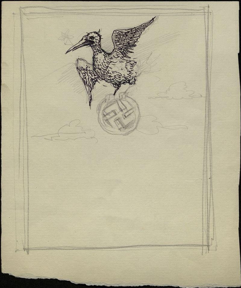 Рисунок орла со свастикой в лапах