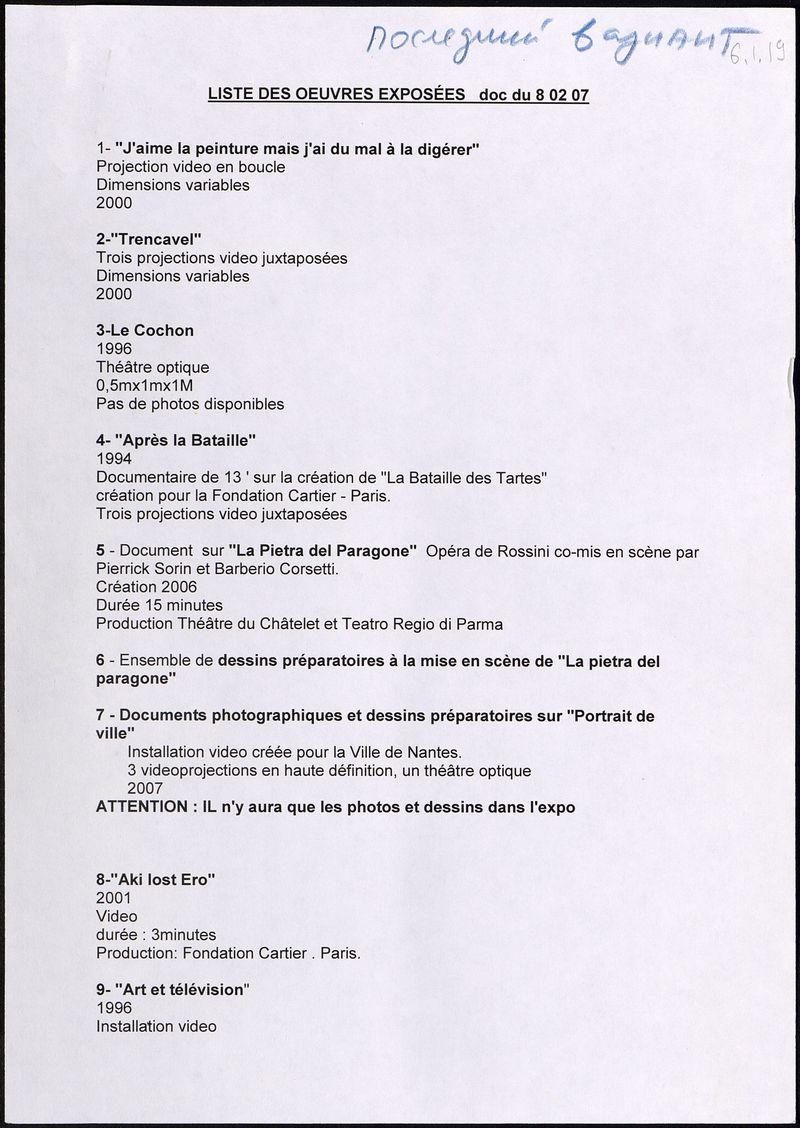 Список работ выставки Пьерика Сорена «Видеопрыжок» от 08.02.2007. Последний вариант