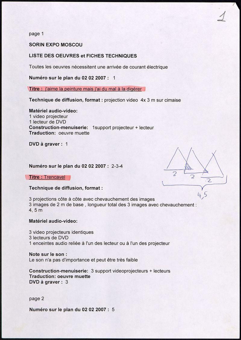 Список работ и технических данных выставки Пьерика Сорена «Видеопрыжок»