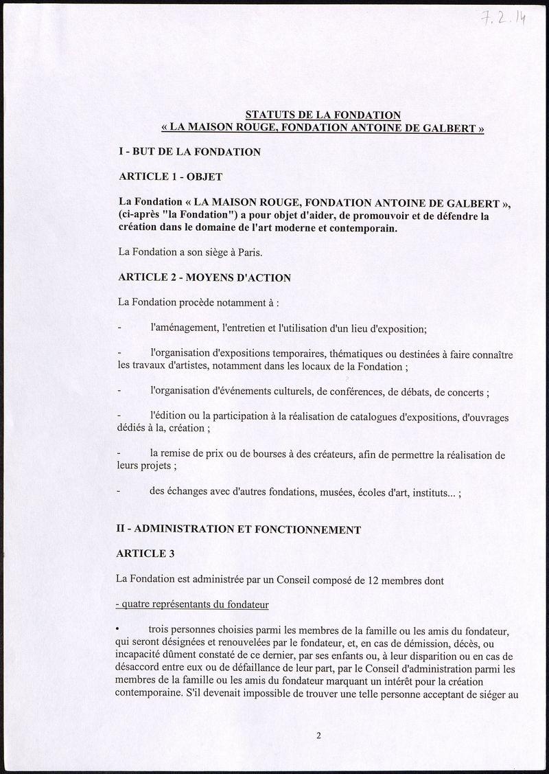 """Statuts de la fondation """"La maison rouge, foundation Antoine De Galbert"""""""