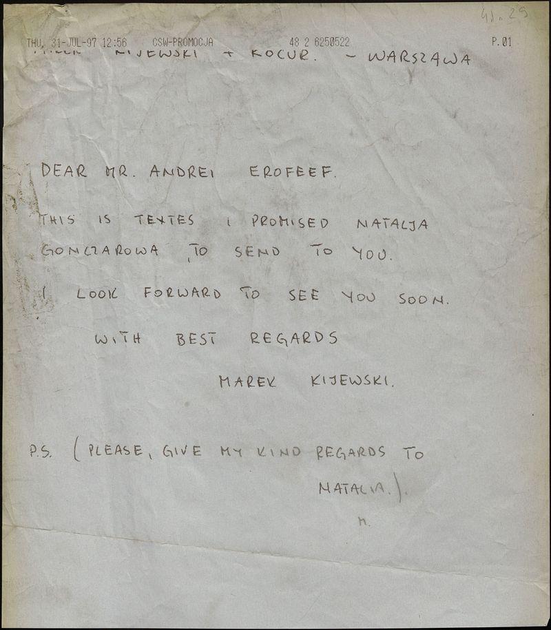 Письмо Марека Киевского Андрею Ерофееву с текстами для III Цетинской биеннале