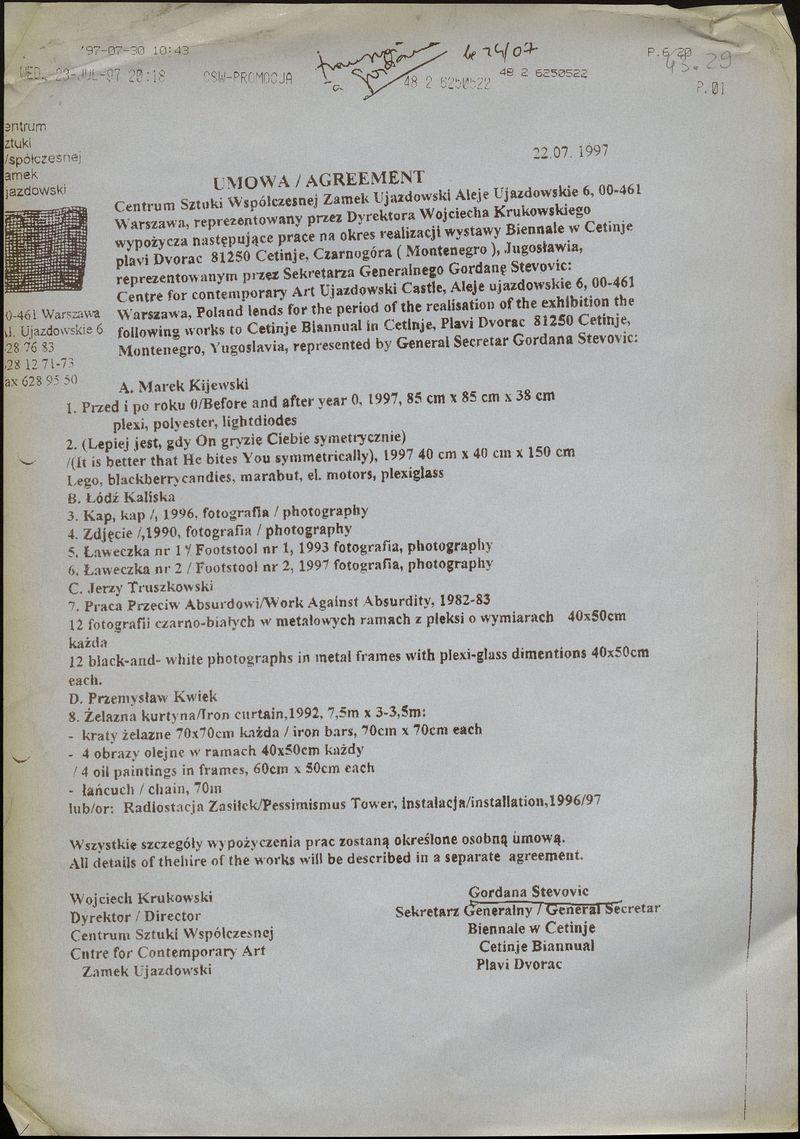 Документы по подготовке польского раздела III Цетинской биеннале