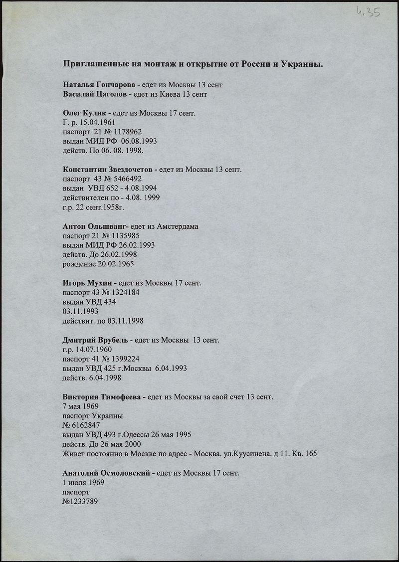 Список российских и украинских художников, приглашённых на монтаж и открытие III Цетинской биеннале