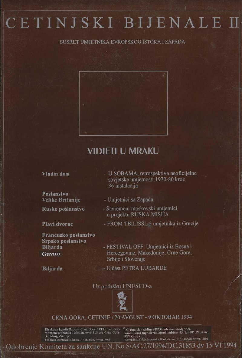 Cetinjski Bijenale II. Vidjeti u mraku
