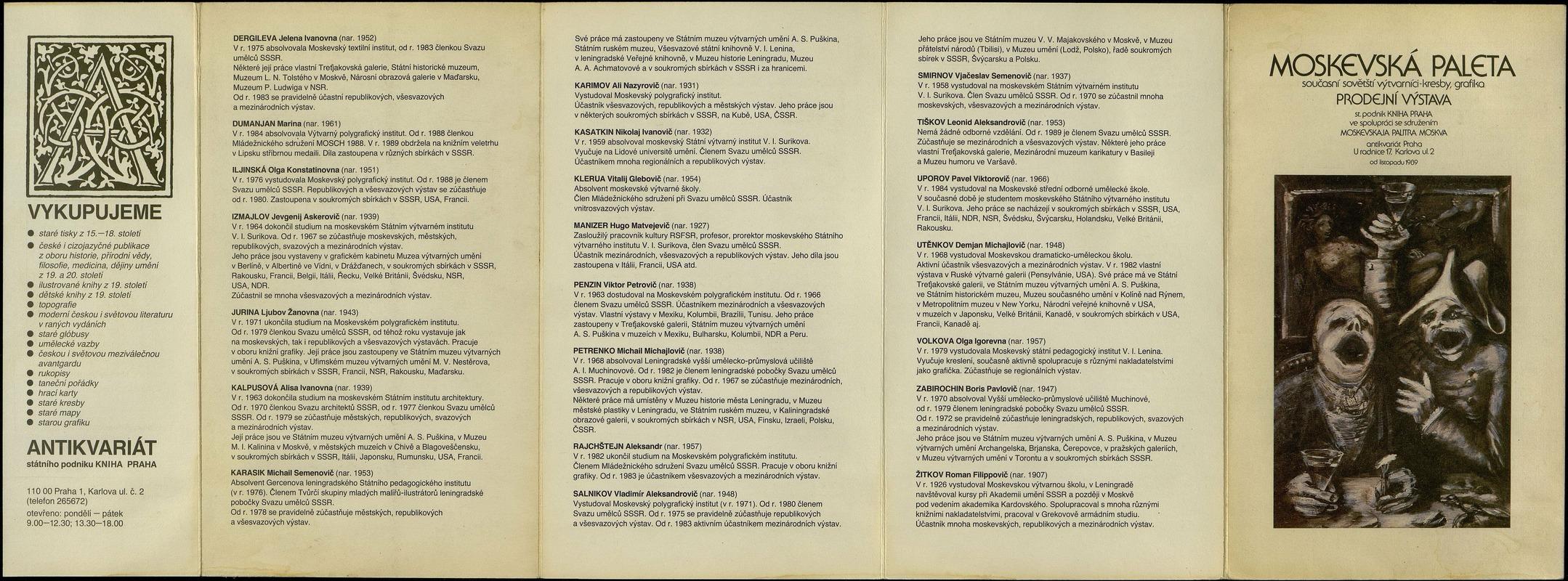 Moskevská Paleta. Současni sovětští výtvarníci- kresby. grafika. Prodejni výstava