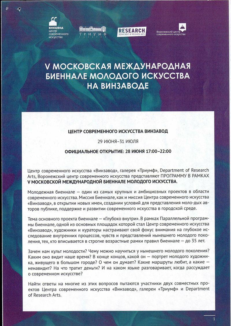 Открытие проектов VМосковской международной биеннале молодого искусства на Винзаводе