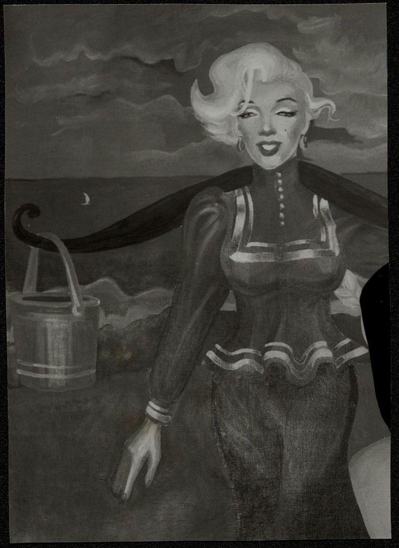 Живописная работа Владислава Мамышева-Монро, изображающая Мэрилин Монро с коромыслом