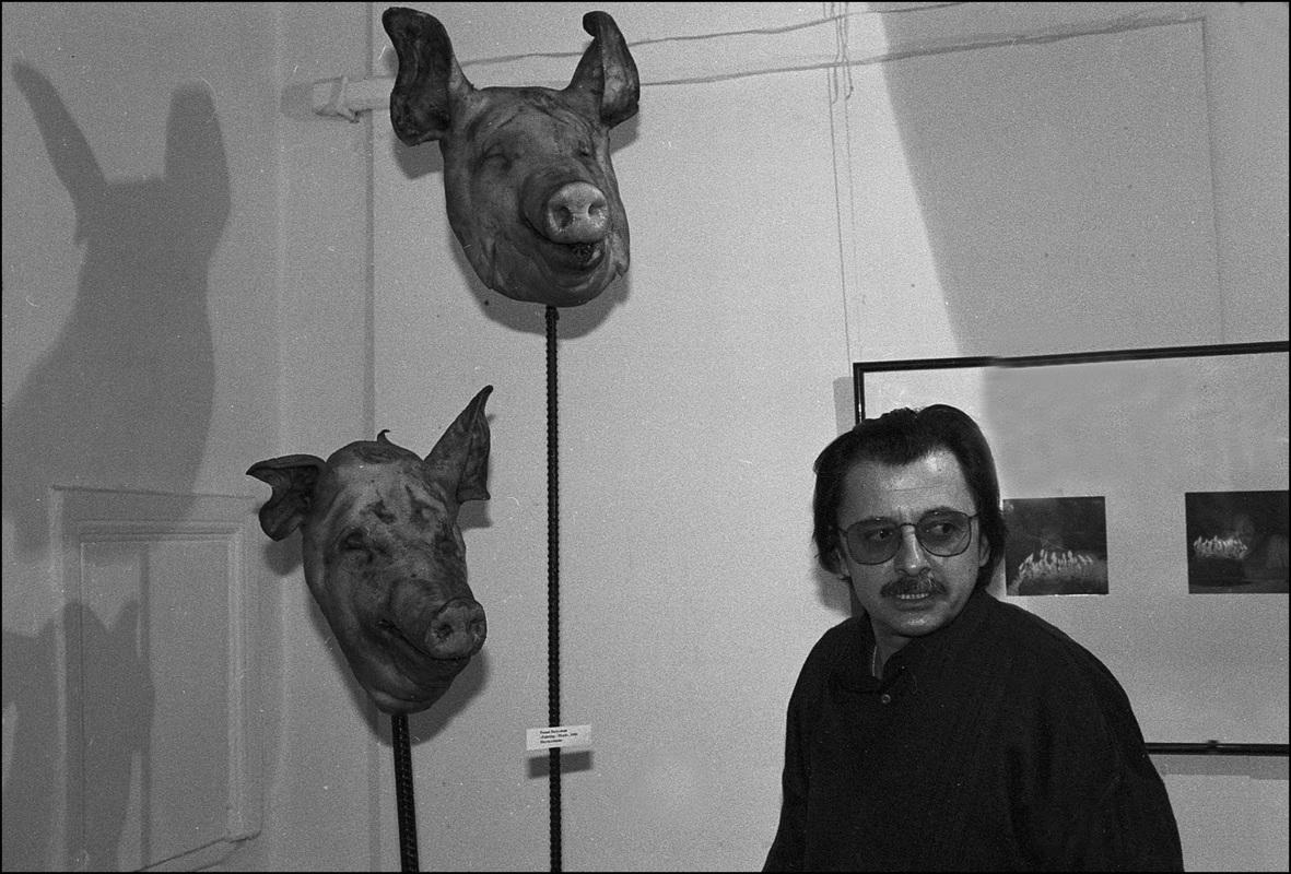 Сергей Мосиенко на выставке «Аутодафе»