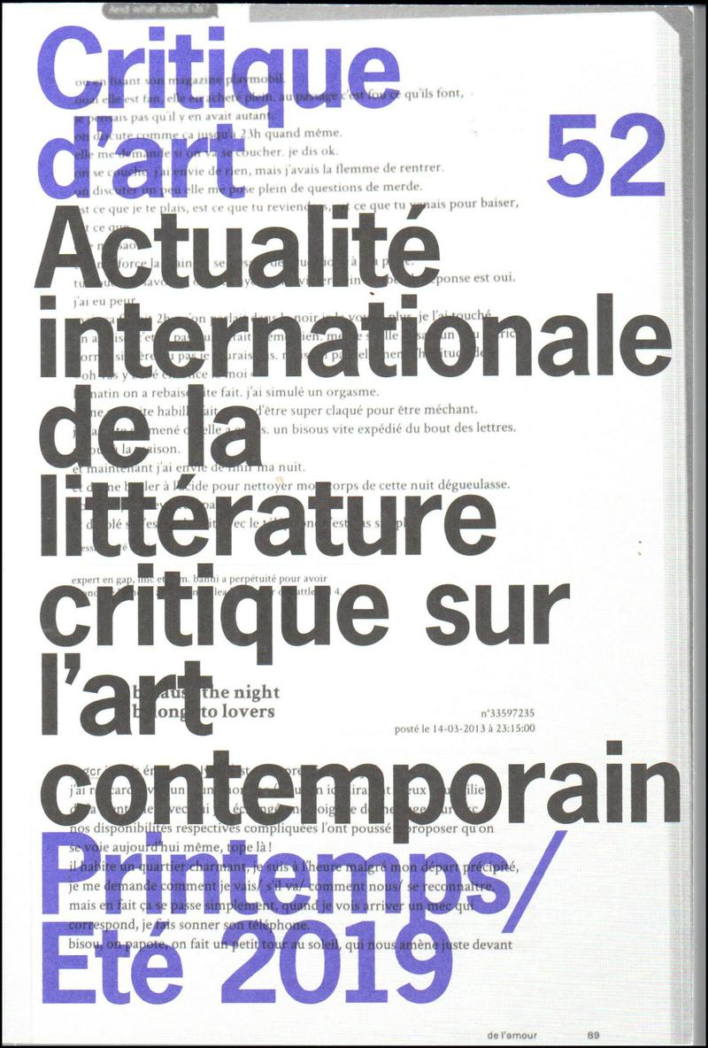 Critique d'art. — 2019. no.52
