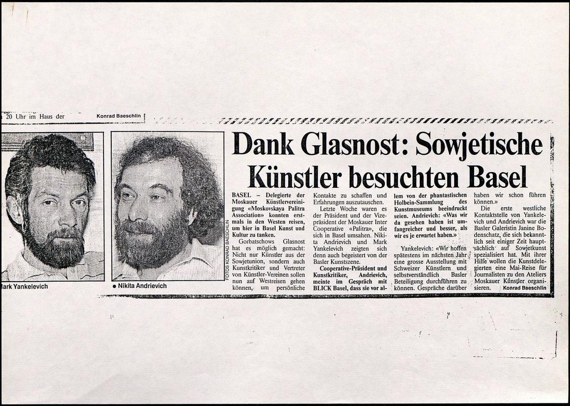 Dank Glasnost: Sowjetische Kunstler besuchten Basel