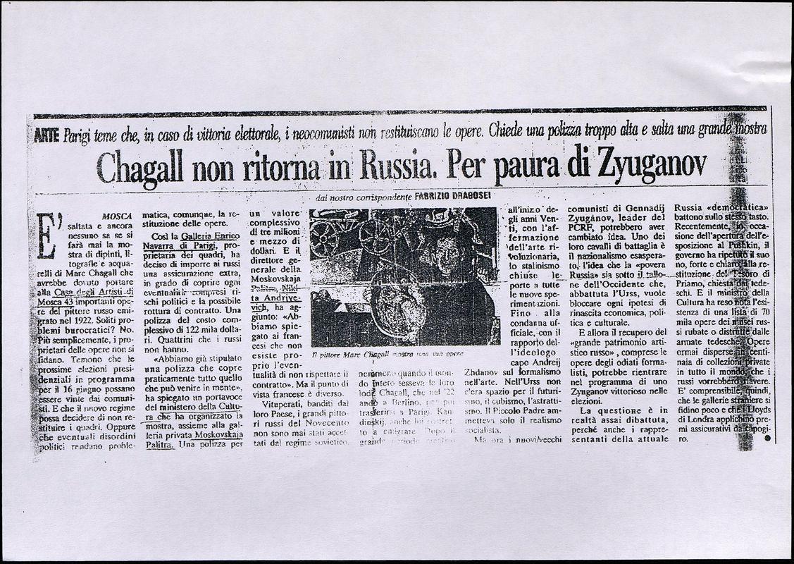 Chagall non ritorna in Russia. Per paura di Zyuganov