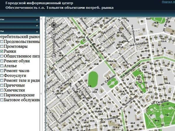 Карта объектов малого бизнеса Тольятти