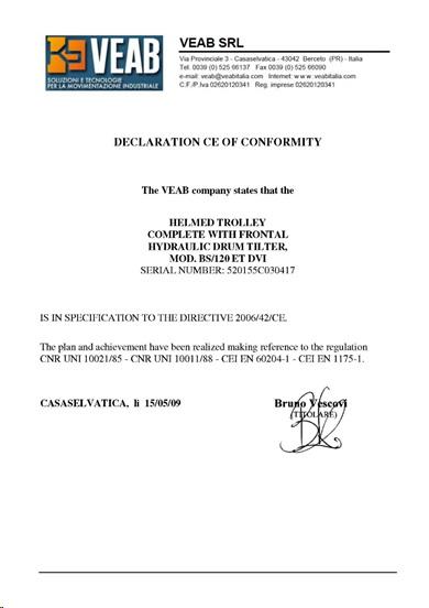 Декларация о соответствии VEAB SRL