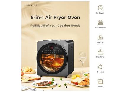14-литровая мультипечь EPEIOS 6-в-1 делает процесс приготовления пищи парой пустяков